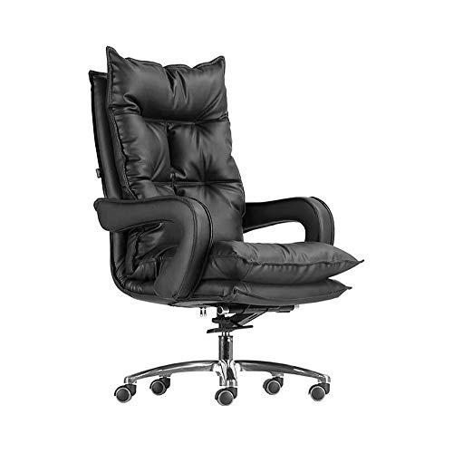ZXN RTU Relax Comfortably Safe Basics - Silla de escritorio de oficina clásica - ajustable, giratoria, piel de vacuno, soporte lumbar (color 12-negro)
