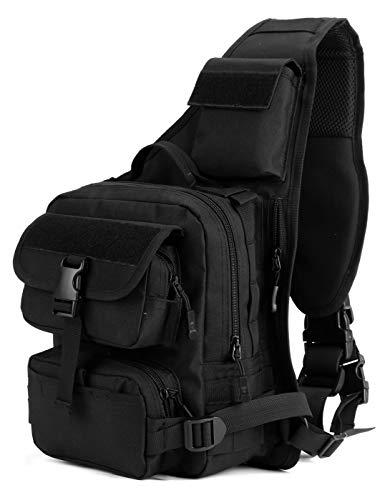 DCCN Sling Rucksack Schulterrucksack Tactical Sling Bag Brusttasche MOLLE Daypack Crossbag mit Verstellbarem Schultergurt für Wandern Radfahren Reisen Schwarz