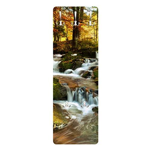 Bilderwelten Wandgarderobe + Haken Wandmontage Wasserfall herbstlicher Wald 139 x 46 cm