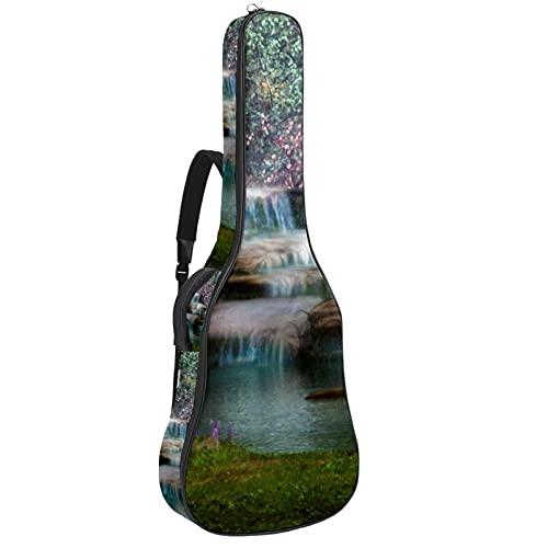 Paquete de guitarra acústica para principiantes, tamaño completo, con tapa de abeto, para guitarra acústica, cascadas, flores y árboles, 108,9 x 42,8 x 11,9 cm