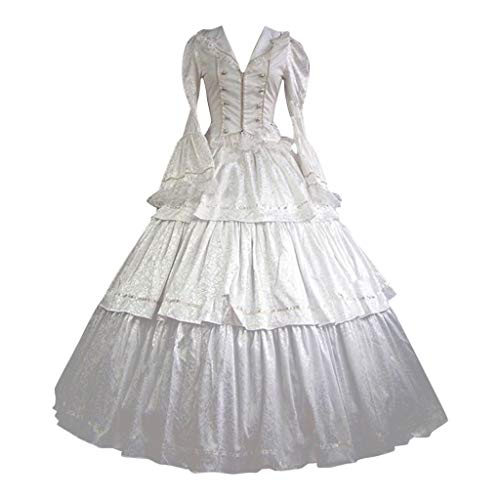 Forthery Women Gothic Victorian Dress Women's Lace Marie Antoinette Masked Ball Victorian Costume Dress(White,M)