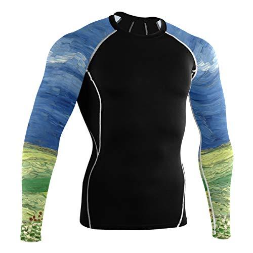 Fantazio Van Gogh Wheatfield Chemise de sport à manches longues pour vélo de montagne - - XL