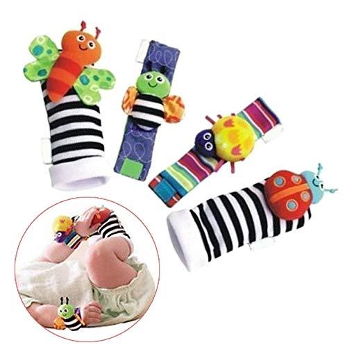 ATIN Sonajero Set Baby Sensory Toys Foot-finder Calcetines muñeca sonajeros pulsera