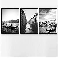 Zhaoyangeng ブラックホワイトヴェネツィアシティランドスケープウォールアートキャンバス絵画北欧のポスターとプリント壁の写真リビングルームの装飾-50X70Cmx3フレームなし