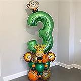 Cumpleaños Globo 50 unids / set Jungle Animal Globos Set de 32 pulgadas Número Verde Foil Globo Niños Muchacho Fiesta de Cumpleaños Decoración de Ducha Bebé ( Color : 50pcs set , Shape : Number 5 )