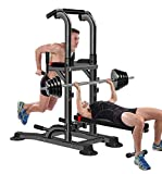 BOUDECH Stazione da Fitness Multifunzione Power Tower Chin-up Dip Station Dotata di Barra Regolabile...