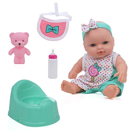 Mommy and Me Loveable Doll Potty and Feeding Set, 7 Inch Doll with Potty, Bottle, Bib and Vinyl Teddy Bear