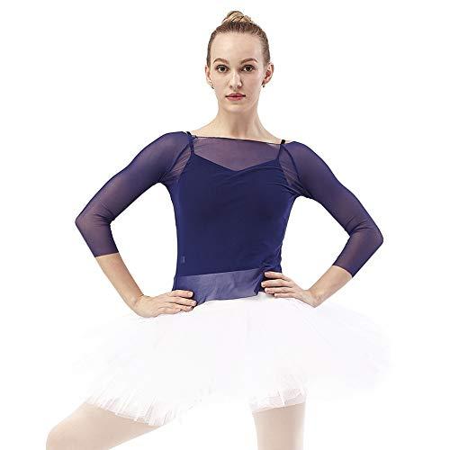 DANCEYOU Tutú Profesional con Tul de 7 Capas Falda Suelta Clásica de Ballet Vestido de Baile Blanco y Negro con Bragas para Niñas y Mujeres, Blanco S
