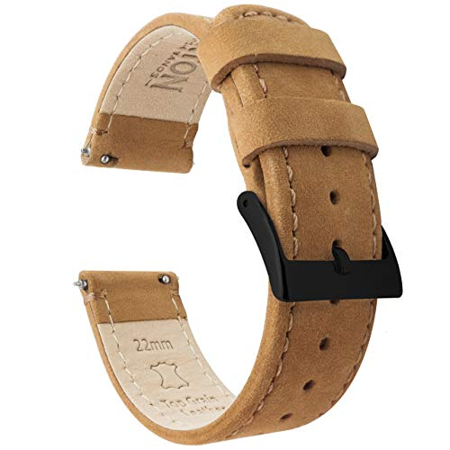 20mm Gingerbread Brown - BARTON Watch Bands - Quick Release Leather Black Buckle Watch Band Strap