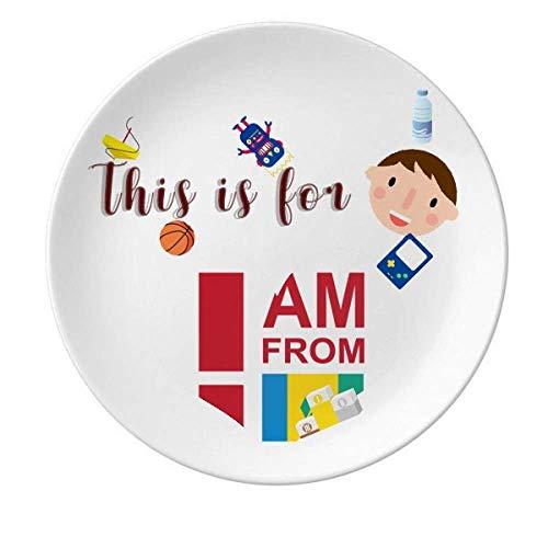 Plato de porcelana con texto en inglés 'I Am From Saint Vicent Grenadines
