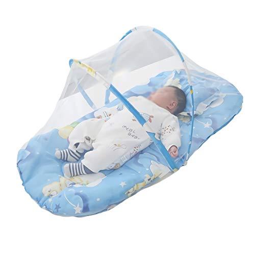 Cuna for bebé 0-1 años Infantil portátil Plegable Cunas for bebé Cuna Plegable Neto Almohada Cama de Viaje Cuna for bebé (Color : Blue)