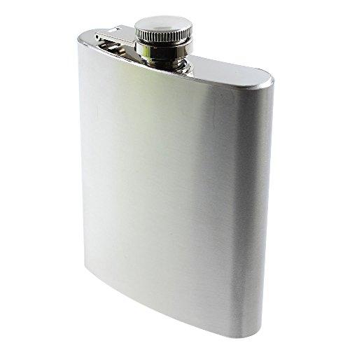 Flachmann Edelstahl Taschenflasche Schnapsflasche Trinkflasche zum Tragen für Alkohol + Spirituosen 200ml silber matt