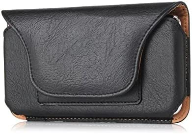 Premium PU Leather Workout Belt Clip Holster Pouch Case Compatible iPhone Xs/X / 8 / BLU Grand M2 2018 / A5 Energy/Motorola g5 / Moto e4 / Samsung Galaxy Sol 3 / J3V(2018) / Amp Prime 3 (Black)