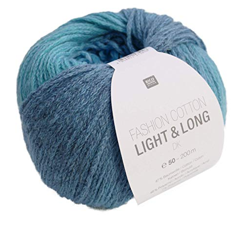 Rico Fashion Cotton Light & Long dk Fb. 05 türkis blau, Baumwollgarn mit langem, dezentem degradé Farbverlauf zum Stricken & Häkeln