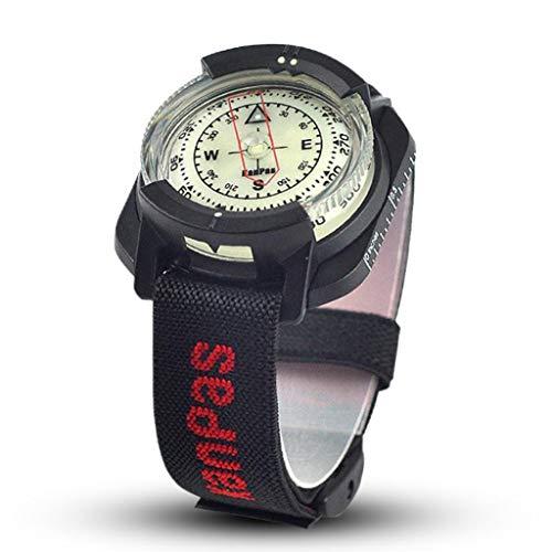ZJJ Brújula Brújula Brújula de Buceo Profesional de 60 m / 197 pies a Prueba de Agua al Aire Libre Navigator Reloj Digital de Buceo con brújula for la natación 1pc GPS y navegacion (Color : Black)