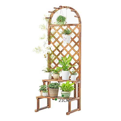 XXLlqRacks Blumenregal Balkon, Trompete Mehrstöckig Stehend Blumenregal aus Holz, Pflanze Blume Display-Ständer Blumenständer für innen, 60x50x175cm