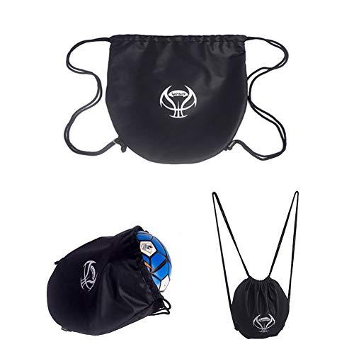 DUCHEN - Bolsa de baloncesto con cordón para entrenamiento de fútbol, bolsa de transporte de fútbol, mochila de fútbol, gimnasio, softball, bolsa de transporte, organizador de voleibol, Unisex adulto, Negro 2