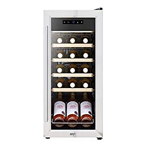 Baridi 18 Bottle Wine Cooler Fridge with Touch Screen Controls & LED Light, Low Energy A, Stainless Steel/Black