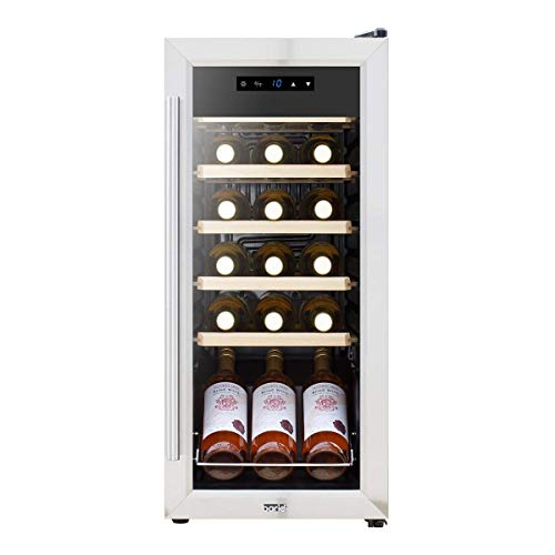 Baridi 18 Bottle Wine Cooler Fridge with Digital Touch Screen Controls & LED Light, Low Energy A, Stainless Steel/Black