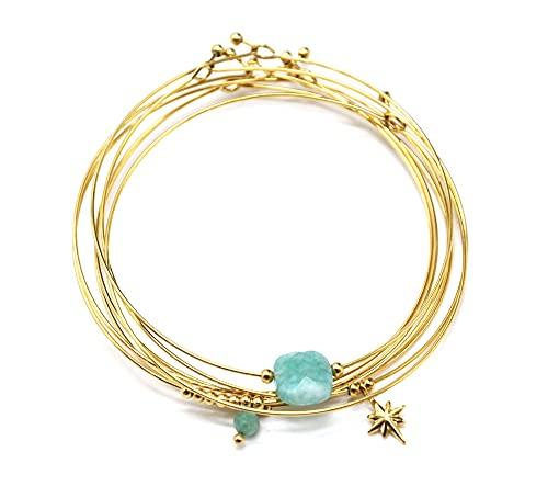 Oh My Shop BC4343 – Pulsera semanal Multi Joncs, acero dorado con piedra verde y estrella polar
