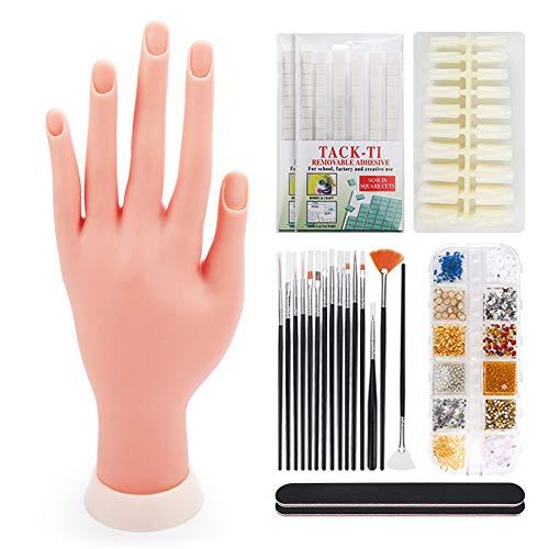 Deciniee Silikon Übungshand für Nageldesign, Professionelle Künstliche Fingernägel,200 Austauschbare Nagelstücke,Trainieren von Fingernägeln Bemalt Nagelkunst-Werkzeuge