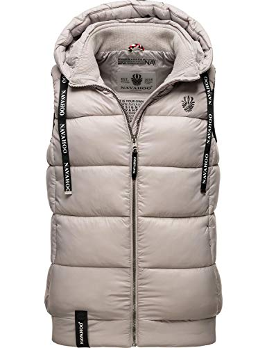 Navahoo Damen Steppweste Outdoor-Weste mit Kapuze Kassidy Light Grey Gr. M