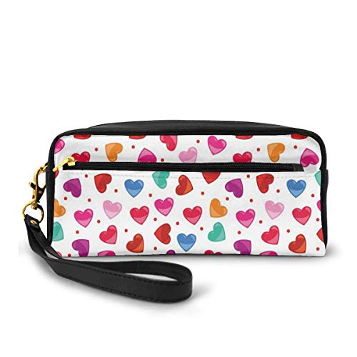 Pencil Case Pen Bag Pouch Stationary,Vibrant Colored Shapes of Love with Polka Dotted Background and Cute Art Design,Small Makeup Bag Coin Purse