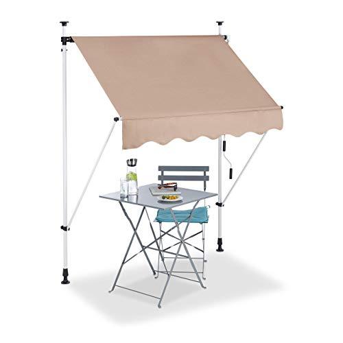 Relaxdays Tenda da Sole, Protezione per Il Balcone, Regolabile, Senza Forare, a Manovella, 150 cm di Larghezza, Beige, 150 x 120 cm