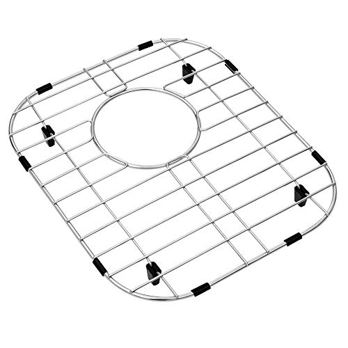 MONSINTA Kitchen Sink Grid and Sink Protectors, Stainless Steel Sink Grids for Bottom of Kitchen Sink, 12 3/16'' X 13 3/4'' with Rear Drain for Double Sink Bowl