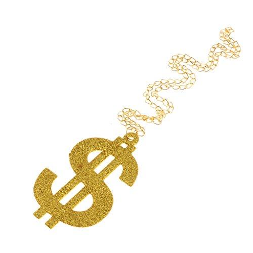 freneci Dollar Sign Necklace Gangster Pimp Hip Hop Fashion Pendant Chain Gold Tone