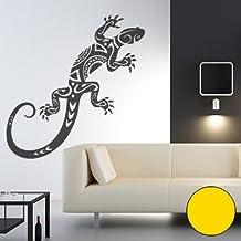 """Muursticker """"Gekko Tribal"""" 147cm x 60cm geel (verkrijgbaar in 40 kleuren en 11 maten)"""