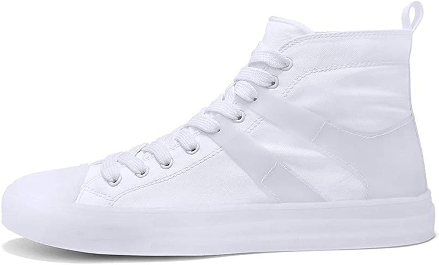 Ailj Canvas shoes, Male Spring Single shoes Canvas Upper High-top shoes Casual shoes (White)