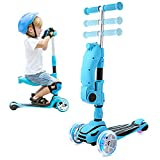 Hikole 3 Wheels Scooter for Kids with Foldable and Removable Seat – Adjustable Height, 3 LED Light Wheels, Kick Scooter for Girls & Boys 2-8 Years Old (Blue)