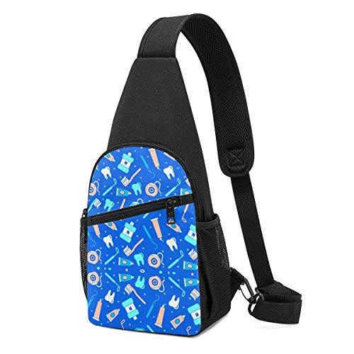 Sling Bags for Teens Crossbody Backpack Teeth-Tool Shoulder Daypacks Adjustable Shopping Wrinkle Resistance Fanny Chest Packs