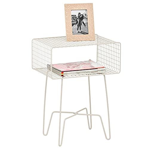 mDesign Mesita auxiliar de metal pequeña – Elegante mesa auxiliar vintage para el salón o el dormitorio – Mesa de centro con moderno diseño de horquilla – crema