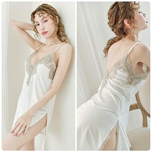 B/H Mujer Lencería Sexy Pijamas Camisones Encaje,Pijama de Terciopelo Dorado Suelto, Vestidos de Tirantes Sexy, Ropa de Piel Dividida con Cuello en V-White_L,Sexy Pijama Vestido Kimono Pijama