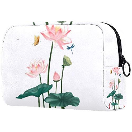 Bolsa de brochas de maquillaje personalizables, bolsas de aseo portátiles para mujeres, bolso cosmético, organizador de viaje, carpa loto