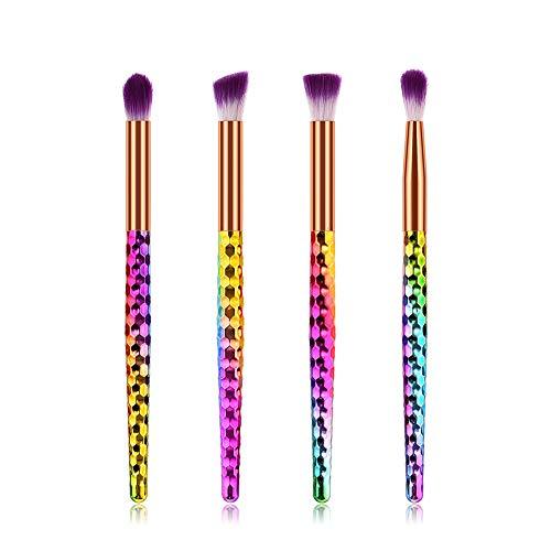Gespout Set de Pinceaux de Maquillage Coloré Brosse de Maquillage Professionnel Fondation Concealer Eye Shadow Beauté Outils 4Pcs