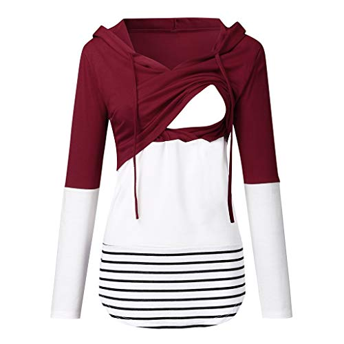 Best Review Of Women's Maternity Layered Nursing Tops Casual Striped Hoodie Sweatshirts for Convenie...