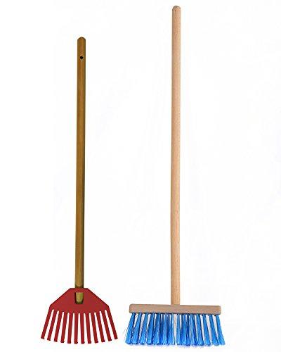 Ondis24 Gartengeräte Kinder-Set Laubrechen und Besen, geschliffene Holzstiele