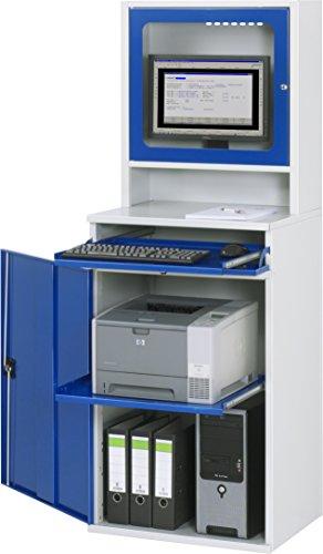 Rau Computer-Schrank, Metall, Lichtgrau/Enzianblau, 80 X 80 X 80 Cm