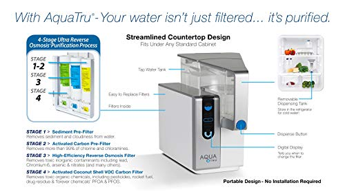 AquaTru - Countertop Water Filtration Purification System with Exclusive 4-Stage Ultra Reverse Osmosis Technology (No… 4 IS YOUR WATER SAFE TO DRINK? Studies continue to pour in regarding Toxins, Hormones, Microplastics, Cancer-linked contaminants, known Carcinogens and other toxins discovered in our Tap Water, Filtered Water…and yes, even Bottled Water. Arsenic, lead, chromium, and drug residues are commonly found in municipal drinking water. AQUA TRU's patented Ultra Reverse Osmosis water filtration system is CERTIFIED to remove such contaminants and many more! Tested and certified by IAPMO according to NSF/ANSI standards to remove 82 CONTAMINANTS - that's 15X more contaminants than the leading pitcher filters. Removes such toxins as Lead 99.1%, Chromium 97.2%, Copper 95.2%, Fluoride 93.5%, Radium 96.4%, and Chlorine 96.6% (to name a few). In fact, it's designed to remove 1000's of pollutants that could be lurking in your tap water. Taste the Difference! NO PLUMBING OR INSTALLATION required - takes just minutes to set up. AquaTru's Trusted & warrantied RO countertop system COSTS CONSIDERABLY LESS than fully installed under-the-counter RO systems, while at the same time, delivering often Cleaner, Purer, and Better Tasting Water. Why waste money & add to landfills with bottled water (93% recently found to contain micro-plastics)? 1 SET OF FILTERS REPLACES 4500 PLASTIC WATER BOTTLES (16.9 oz) - Forget about the hassle & cost of buying bottled water