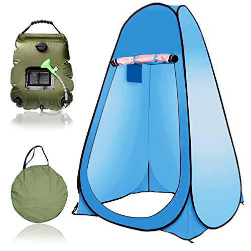 EnweGey Pop Up Shower Privacy Tent, Outdoor Solar Shower Bag with Carrying Bag, 5 Gallons/20L Hot Water 45°C, Switchable Shower Head, Camp Toilet, Changing Room, Rain Shelter,5.Blue
