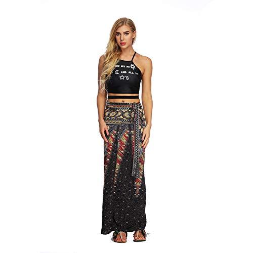 HOOLAZA Boho Kwiatowy Nadruk Długa Spódnica dla kobiet Maxi Spódnica Podział Długie Spódnice Bangage Boho Boho Spódnica Maxi Boho Długa spódnica