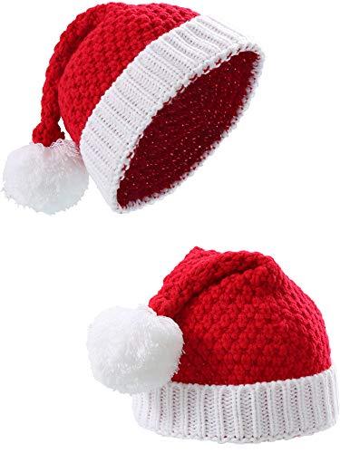 Sumind 2 Stück Weihnachtsmütze Weihnachten Rot und Weiß Gestrickte Weihnachtskappen Winter Hut Xmas Hats (Erwachsene Größe)