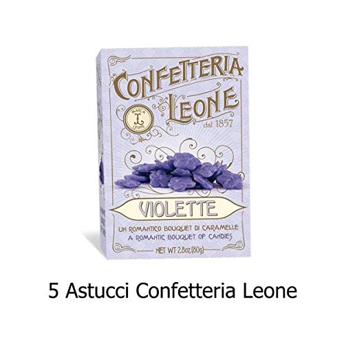 5 Astucci Violetta Confetteria Leone 80g Caramelle al profumo di Violetta- Senza glutine e Senza tracce di latte e frutta a guscio