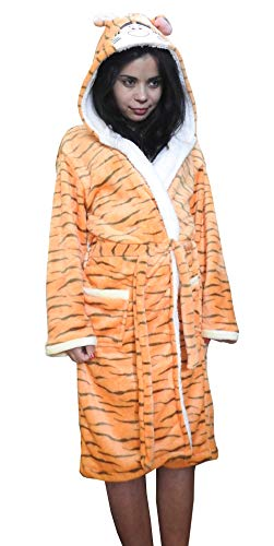 Lovelegis Größe L - Tiger - Schlafrock - Bademantel - für Schlafzimmer - Nacht - Pyjama - Mann - Frau - Unisex - weiches Fleece - mit Kapuze und Gürtel - Zeichen