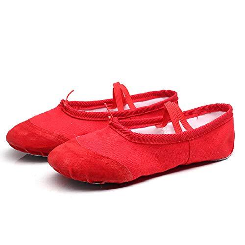 Zapatos de baile para niños de suela suave de ejercicio de danza zapatos de ballet zapatos de danza de lona transpirable, color, talla 46 EU