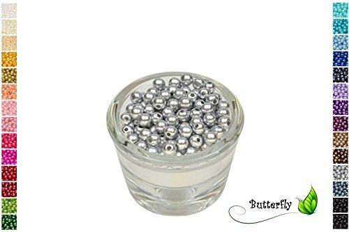 100 Perlen 6mm hell Silber 012H // Kuststoff Bastelperlen Drahtsterne Wachsperlen Perlenkette