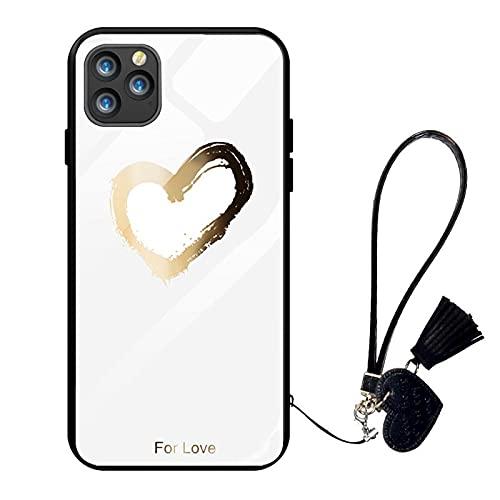 Oihxse Case Compatible para Samsung Galaxy J7 Prime, Vidrio Templado con Cuerda Cordón Cover, Amor y Estampado de Labios Motif Funda, Anti-Rasguños Anti-Choques Cáscara